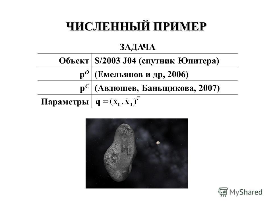 ЧИСЛЕННЫЙ ПРИМЕР ЗАДАЧА ОбъектS/2003 J04 (спутник Юпитера) pOpO (Емельянов и др, 2006) pCpC (Авдюшев, Баньщикова, 2007) Параметры