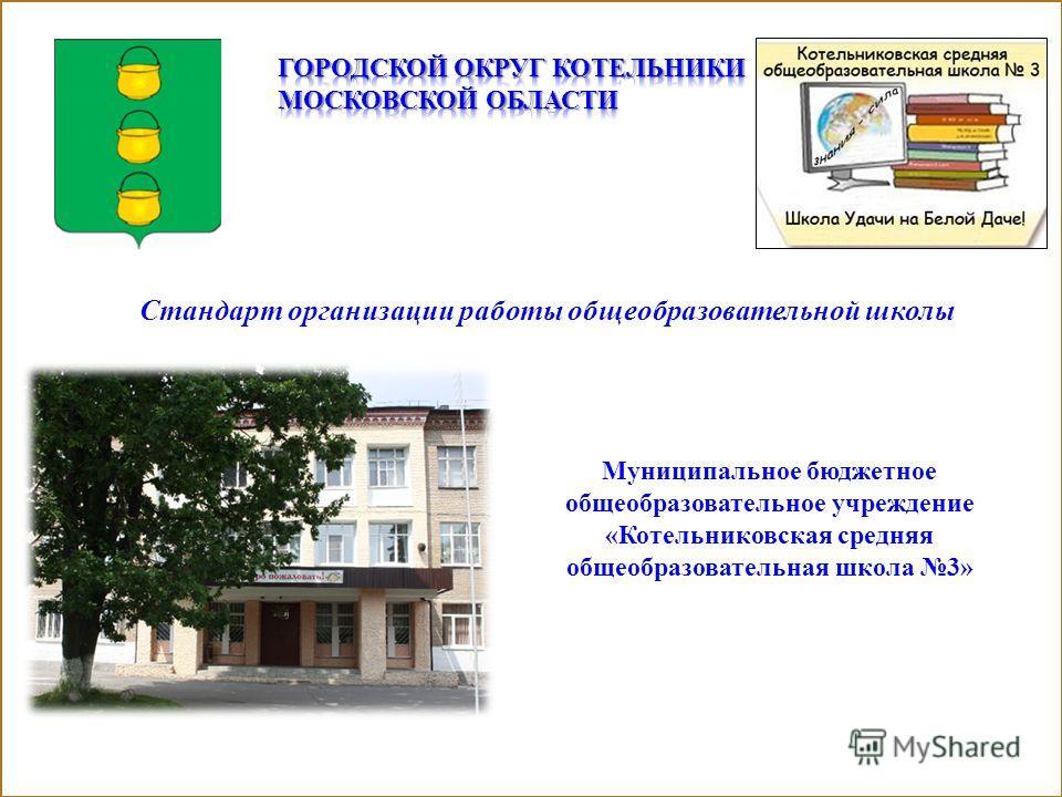 Муниципальное бюджетное общеобразовательное учреждение «Котельниковская средняя общеобразовательная школа 3» Стандарт организации работы общеобразовательной школы