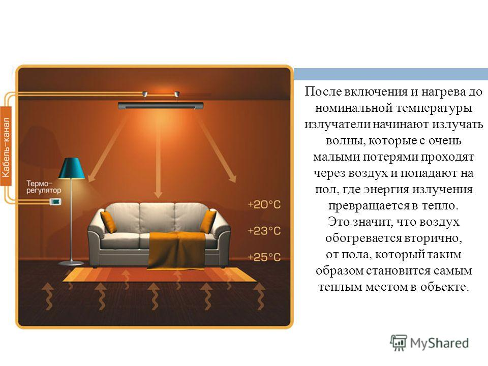 После включения и нагрева до номинальной температуры излучатели начинают излучать волны, которые с очень малыми потерями проходят через воздух и попадают на пол, где энергия излучения превращается в тепло. Это значит, что воздух обогревается вторично