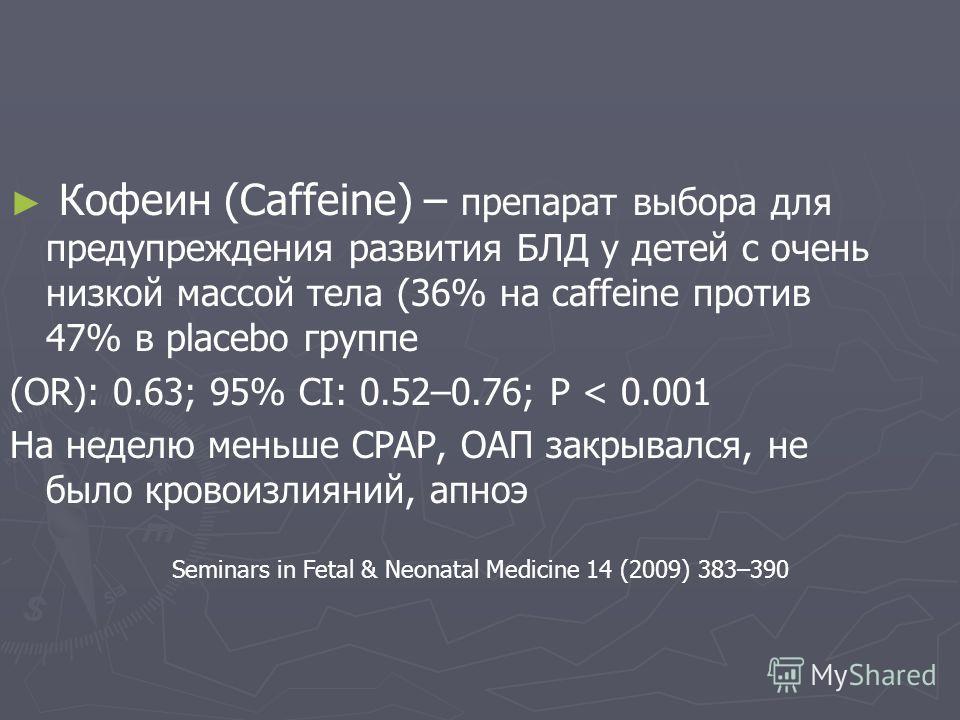 Кофеин (Caffeine) – препарат выбора для предупреждения развития БЛД у детей с очень низкой массой тела (36% на caffeine против 47% в placebo группе (OR): 0.63; 95% CI: 0.52–0.76; P < 0.001 На неделю меньше СРАР, ОАП закрывался, не было кровоизлияний,
