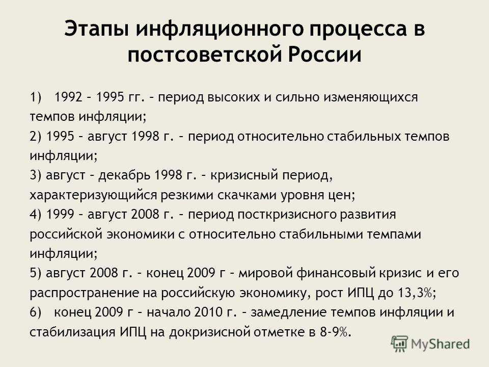 Этапы инфляционного процесса в постсоветской России 1)1992 – 1995 гг. – период высоких и сильно изменяющихся темпов инфляции; 2) 1995 – август 1998 г. – период относительно стабильных темпов инфляции; 3) август – декабрь 1998 г. – кризисный период, х