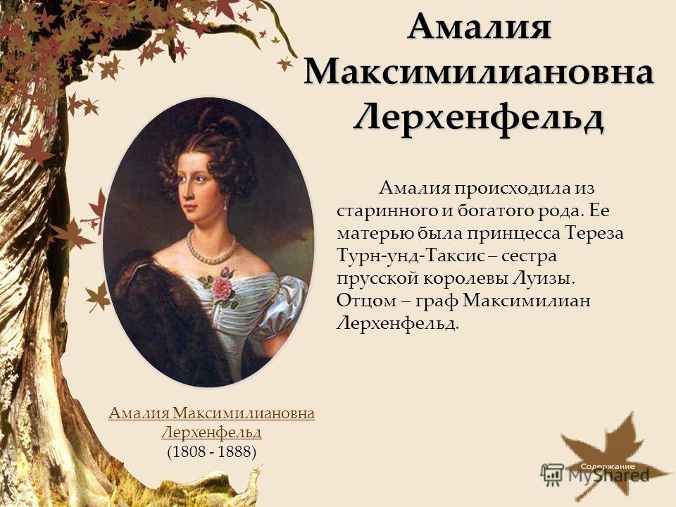 Амалия Максимилиановна Лерхенфельд Амалия происходила из старинного и богатого рода. Ее матерью была принцесса Тереза Турн-унд-Таксис – сестра прусской королевы Луизы. Отцом – граф Максимилиан Лерхенфельд. Амалия Максимилиановна Лерхенфельд (1808 - 1