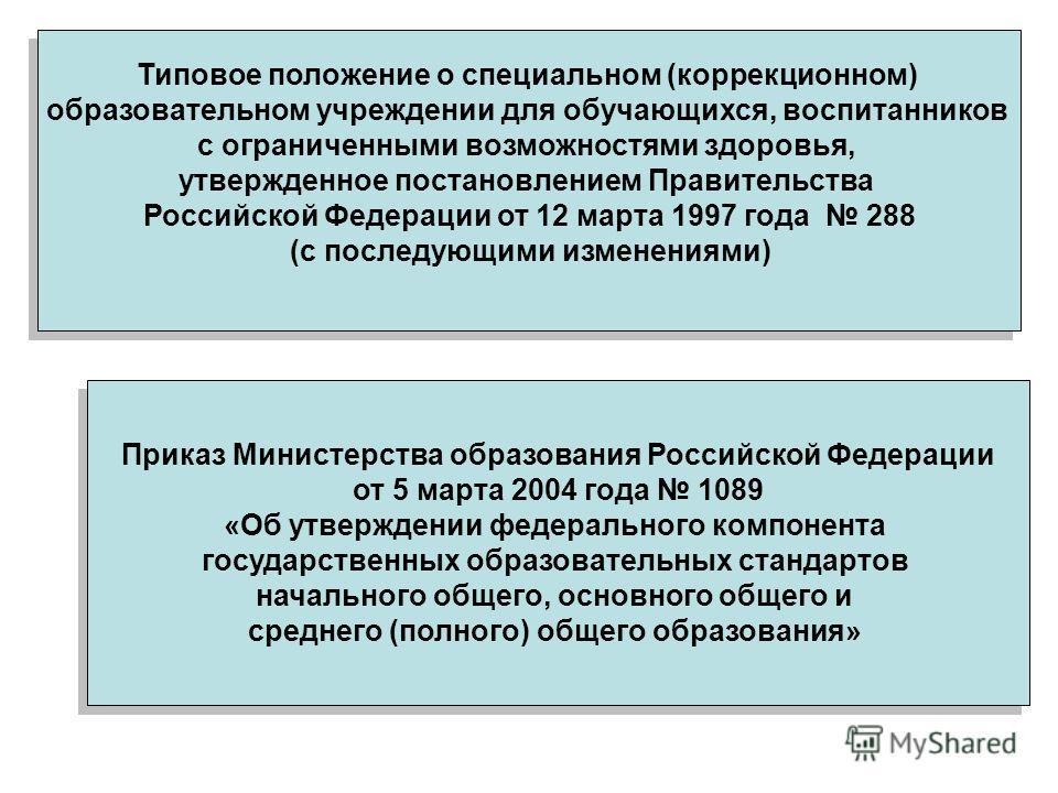 Типовое положение о специальном (коррекционном) образовательном учреждении для обучающихся, воспитанников с ограниченными возможностями здоровья, утвержденное постановлением Правительства Российской Федерации от 12 марта 1997 года 288 (с последующими