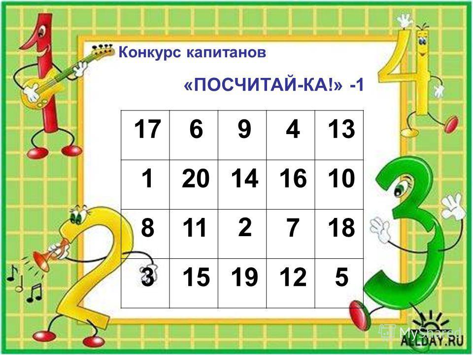 Конкурс капитанов «ПОСЧИТАЙ-КА!» -1 17 6 9 4 13 1 20 14 16 10 8 11 2 7 18 3 15 19 12 5