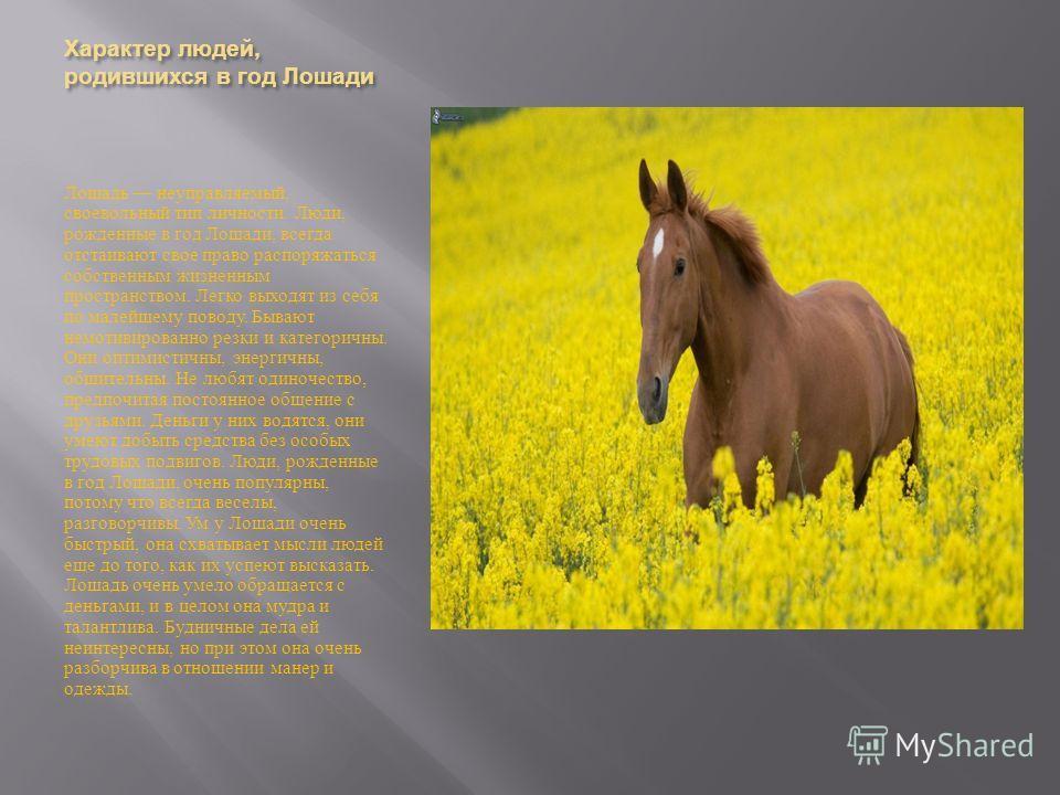 Характер людей, родившихся в год Лошади Лошадь неуправляемый, своевольный тип личности. Люди, рожденные в год Лошади, всегда отстаивают свое право распоряжаться собственным жизненным пространством. Легко выходят из себя по малейшему поводу. Бывают не