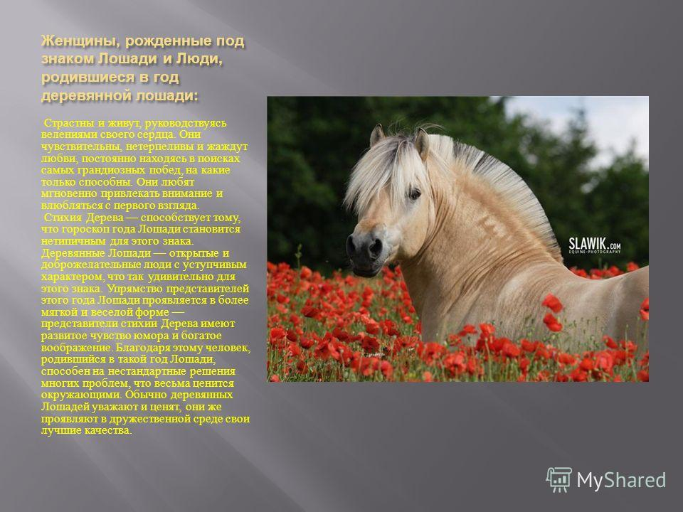 Женщины, рожденные под знаком Лошади и Люди, родившиеся в год деревянной лошади : Страстны и живут, руководствуясь велениями своего сердца. Они чувствительны, нетерпеливы и жаждут любви, постоянно находясь в поисках самых грандиозных побед, на какие