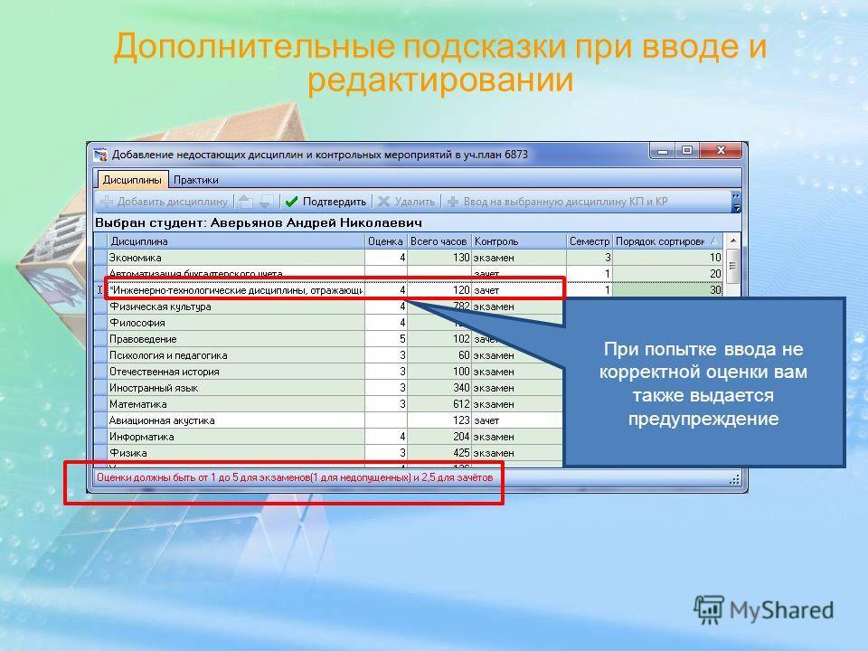 Дополнительные подсказки при вводе и редактировании При попытке ввода не корректной оценки вам также выдается предупреждение