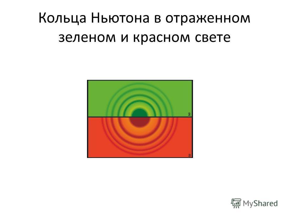 Кольца Ньютона в отраженном зеленом и красном свете