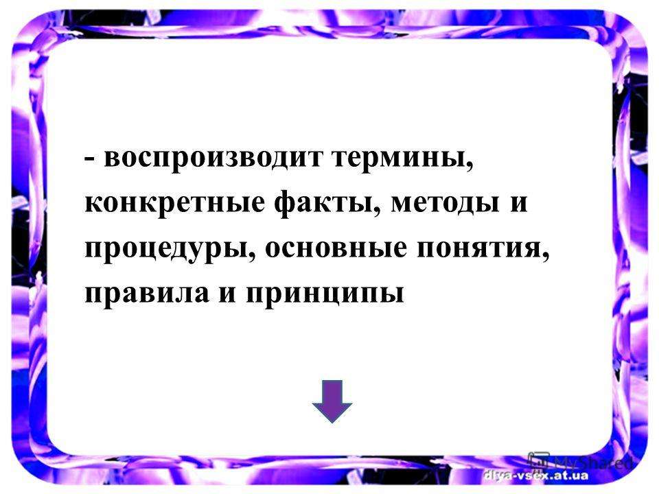 - воспроизводит термины, конкретные факты, методы и процедуры, основные понятия, правила и принципы