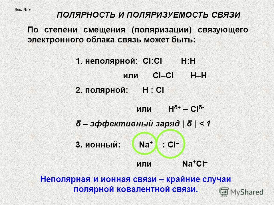 Лек. 9 По степени смещения (поляризации) связующего электронного облака связь может быть: ПОЛЯРНОСТЬ И ПОЛЯРИЗУЕМОСТЬ СВЯЗИ 1. неполярной: Cl:Cl H:H или Cl–Cl H–H 2. полярной: H : Cl или H δ+ – Cl δ- δ – эффективный заряд | δ | < 1 3. ионный: Na + :