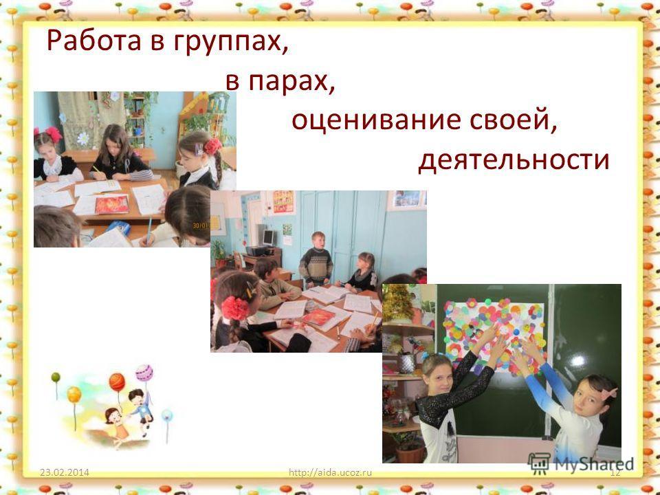 Работа в группах, в парах, оценивание своей, деятельности 23.02.2014http://aida.ucoz.ru12