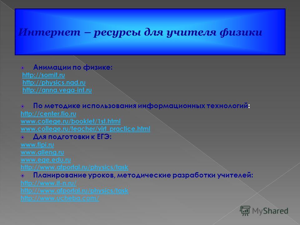 Анимации по физике: http://somit.ru http://somit.ru http://physics.nad.ru http://anna.vega-int.ru По методике использования информационных технологий: http://center.fio.ru www.college.ru/booklet/1st.html www.college.ru/teacher/virt_practice.html Для