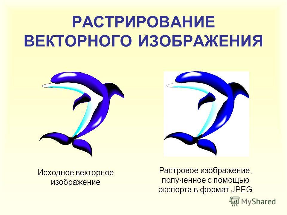 РАСТРИРОВАНИЕ ВЕКТОРНОГО ИЗОБРАЖЕНИЯ Исходное векторное изображение Растровое изображение, полученное с помощью экспорта в формат JPEG