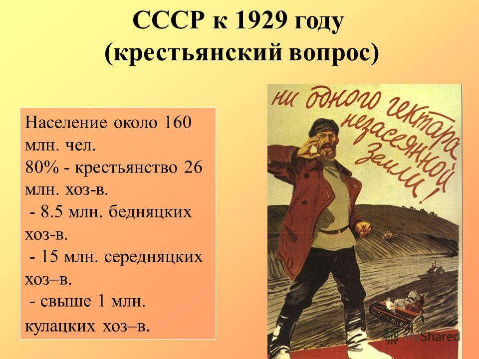 Население около 160 млн. чел. 80% - крестьянство 26 млн. хоз-в. - 8.5 млн. бедняцких хоз-в. - 15 млн. середняцких хоз–в. - свыше 1 млн. кулацких хоз–в. СССР к 1929 году (крестьянский вопрос)