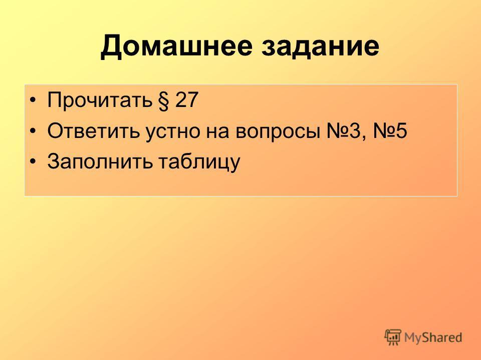 Домашнее задание Прочитать § 27 Ответить устно на вопросы 3, 5 Заполнить таблицу