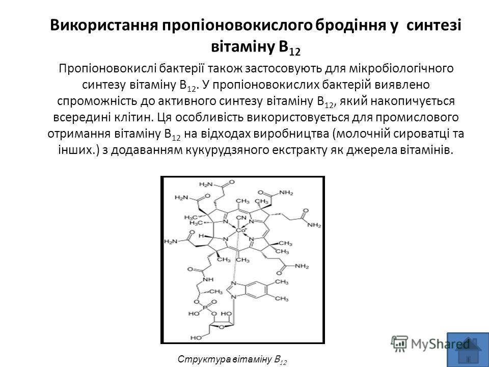 Використання пропіоновокислого бродіння у синтезі вітаміну B 12 Пропіоновокислі бактерії також застосовують для мікробіологічного синтезу вітаміну B 12. У пропіоновокислих бактерій виявлено спроможність до активного синтезу вітаміну B 12, який накопи