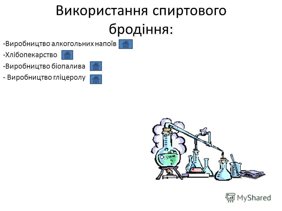 Використання спиртового бродіння: -Виробництво алкогольних напоїв -Хлібопекарство -Виробництво біопалива - Виробництво гліцеролу
