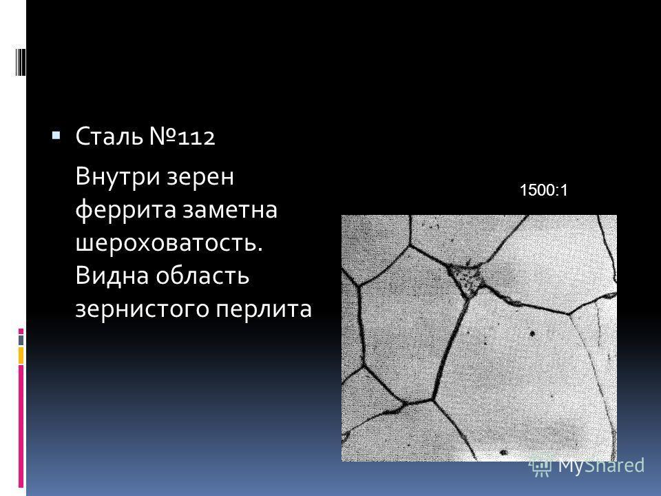 Сталь 112 Внутри зерен феррита заметна шероховатость. Видна область зернистого перлита 1500:1