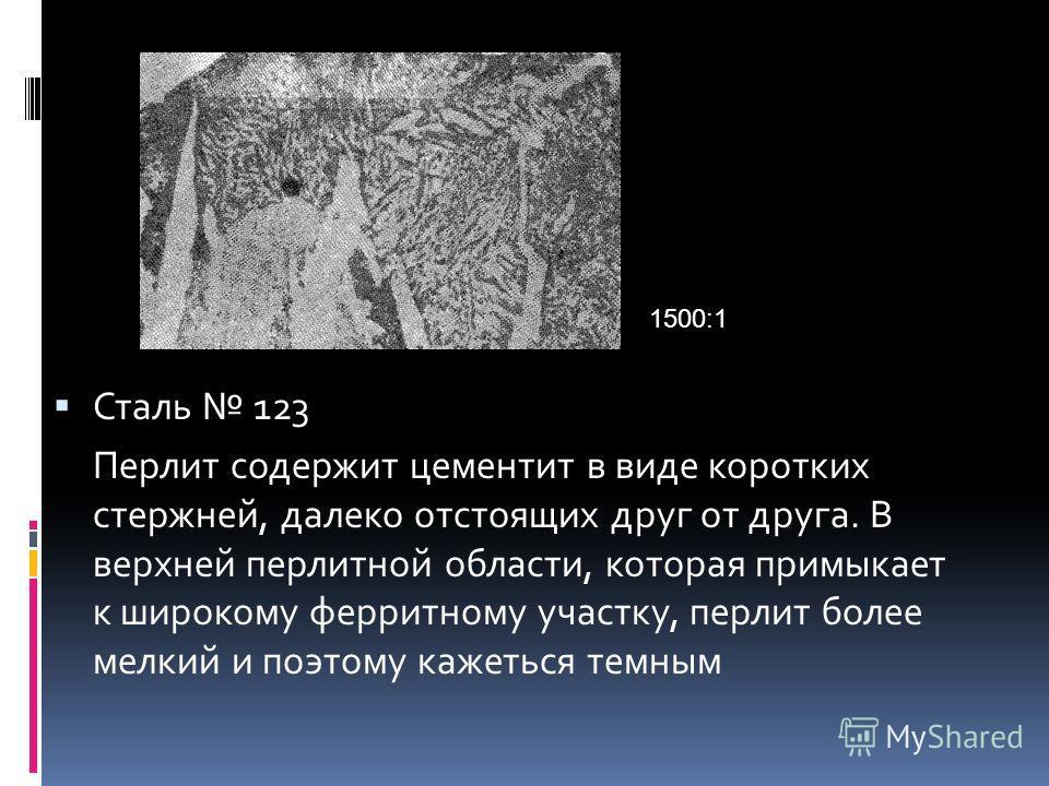 Сталь 123 Перлит содержит цементит в виде коротких стержней, далеко отстоящих друг от друга. В верхней перлитной области, которая примыкает к широкому ферритному участку, перлит более мелкий и поэтому кажеться темным 1500:1