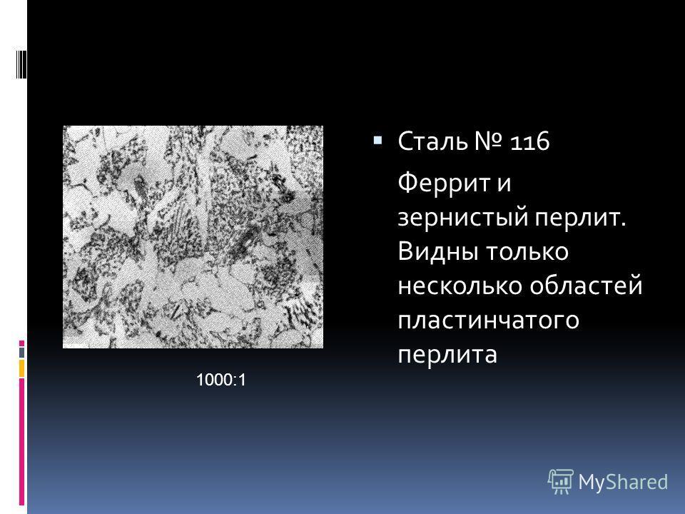 Сталь 116 Феррит и зернистый перлит. Видны только несколько областей пластинчатого перлита 1000:1