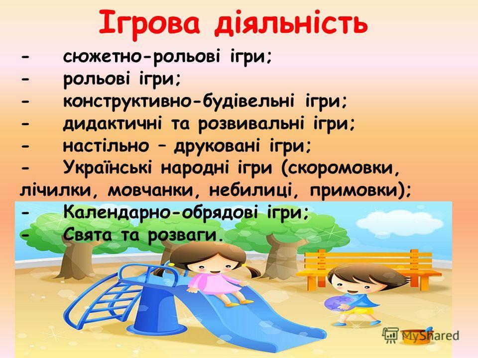 Ігрова діяльність - сюжетно-рольові ігри; - рольові ігри; - конструктивно-будівельні ігри; - дидактичні та розвивальні ігри; - настільно – друковані ігри; - Українські народні ігри (скоромовки, лічилки, мовчанки, небилиці, примовки); - Календарно-обр