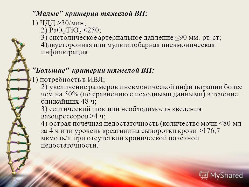 Малые критерии тяжелой ВП: 1) ЧДД >30/мин; 2) РаО 2 /FiО 2