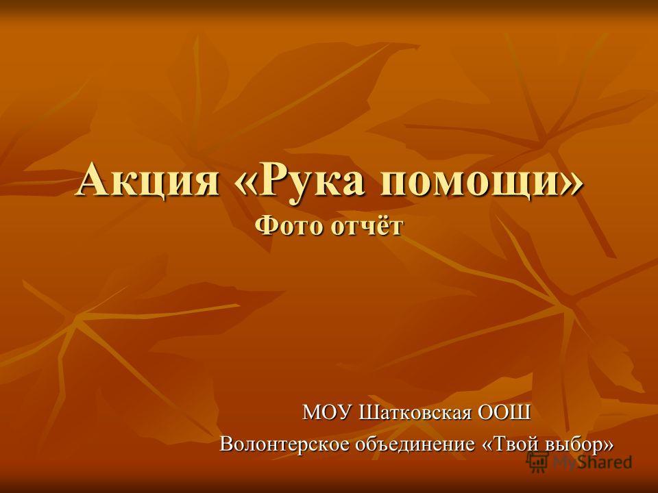 Акция «Рука помощи» Фото отчёт МОУ Шатковская ООШ Волонтерское объединение «Твой выбор»