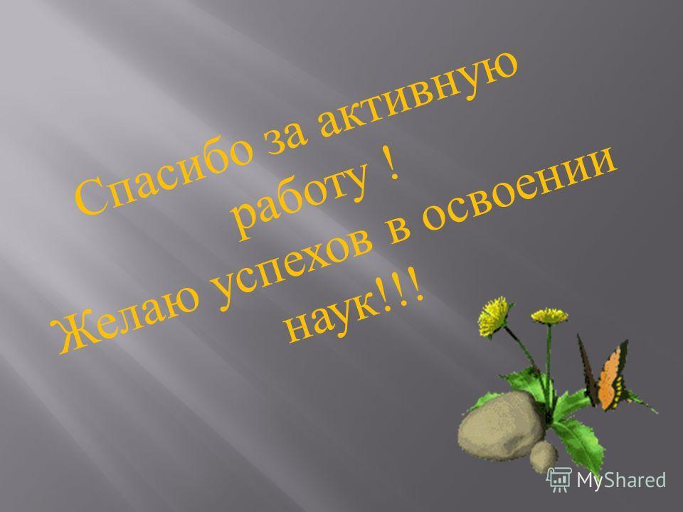 Спасибо за активную работу ! Желаю успехов в освоении наук !!!