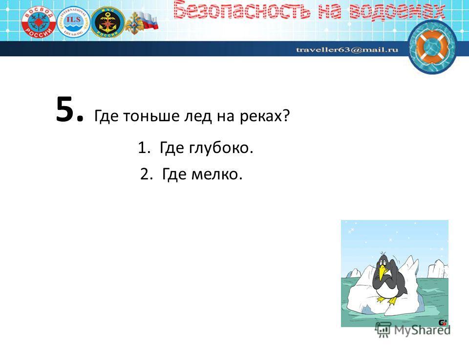 5. Где тоньше лед на реках? 1. Где глубоко. 2. Где мелко.