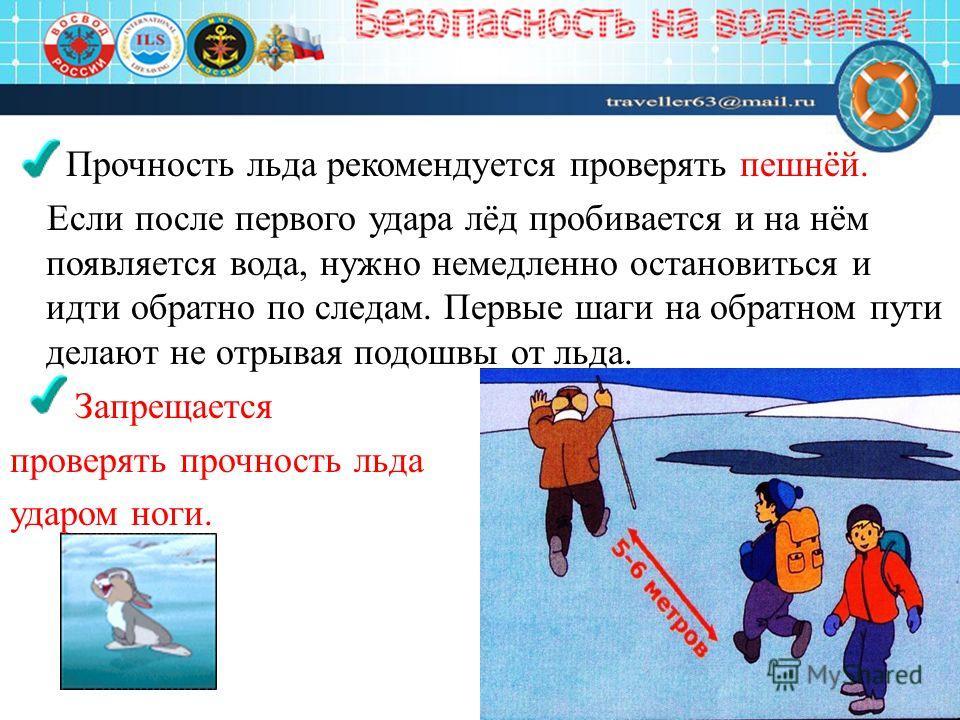 Прочность льда рекомендуется проверять пешнёй. Если после первого удара лёд пробивается и на нём появляется вода, нужно немедленно остановиться и идти обратно по следам. Первые шаги на обратном пути делают не отрывая подошвы от льда. Запрещается пров