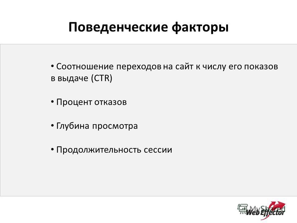 Поведенческие факторы Соотношение переходов на сайт к числу его показов в выдаче (CTR) Процент отказов Глубина просмотра Продолжительность сессии