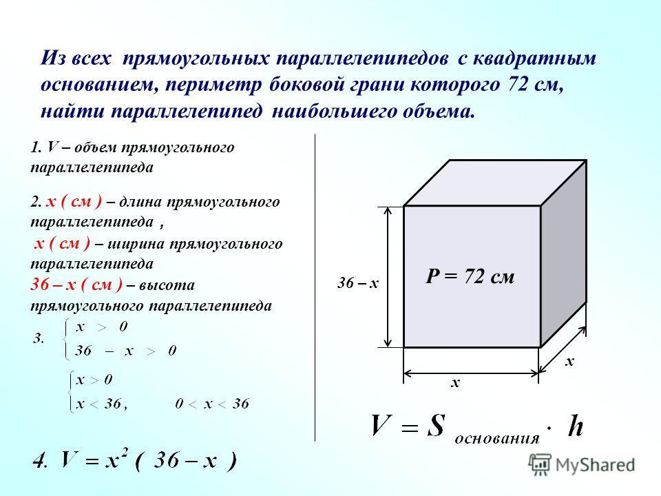 Из всех прямоугольных параллелепипедов с квадратным основанием, периметр боковой грани которого 72 см, найти параллелепипед наибольшего объема. Р = 72 см х 36 – х х 1. V – объем прямоугольного параллелепипеда 2. х ( см ) – длина прямоугольного паралл