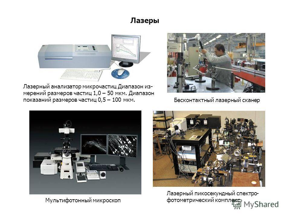 Лазеры Мультифотонный микроскоп Бесконтактный лазерный сканер Лазерный пикосекундный спектро- фотометрический комплекс Лазерный анализатор микрочастиц Диапазон из- мерений размеров частиц 1,0 – 50 мкм. Диапазон показаний размеров частиц 0,5 – 100 мкм