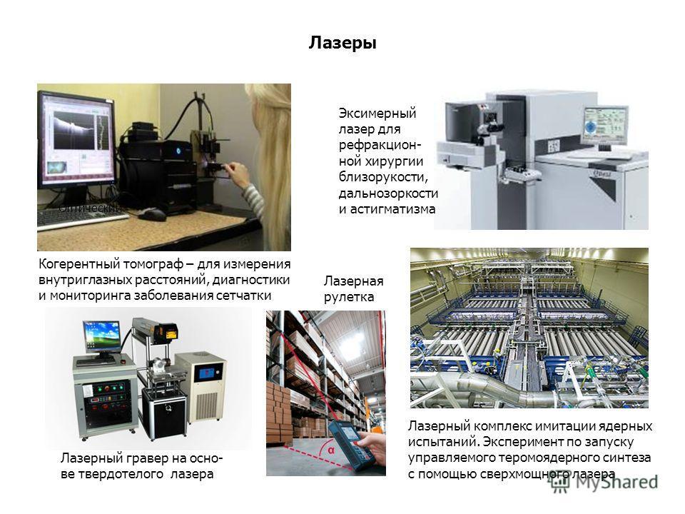 Лазеры Оптический Когерентный томограф – для измерения внутриглазных расстояний, диагностики и мониторинга заболевания сетчатки Эксимерный лазер для рефракцион- ной хирургии близорукости, дальнозоркости и астигматизма Лазерный гравер на осно- ве твер