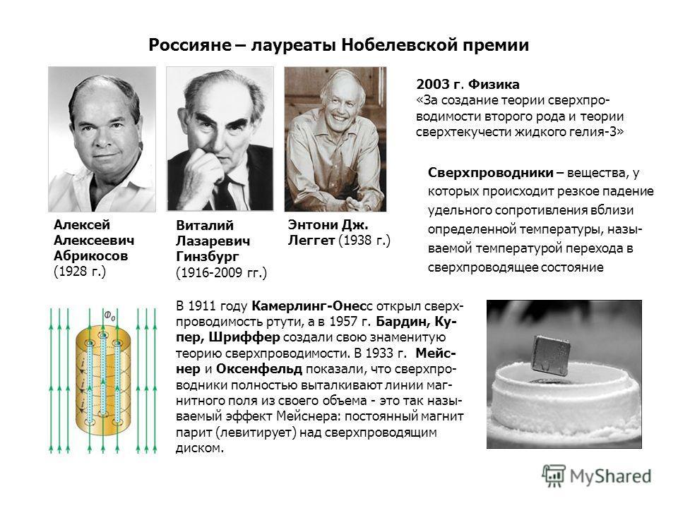 Россияне – лауреаты Нобелевской премии Сверхпроводники – вещества, у которых происходит резкое падение удельного сопротивления вблизи определенной температуры, назы- ваемой температурой перехода в сверхпроводящее состояние 2003 г. Физика «За создание