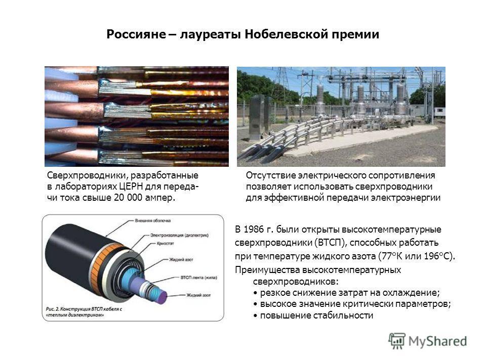 Россияне – лауреаты Нобелевской премии В 1986 г. были открыты высокотемпературные сверхпроводники (ВТСП), способных работать при температуре жидкого азота (77°К или 196°С). Преимущества высокотемпературных сверхпроводников: резкое снижение затрат на