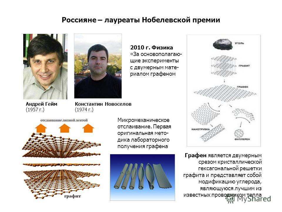 Россияне – лауреаты Нобелевской премии Микромеханическое отслаивание. Первая оригинальная мето- дика лабораторного получения графена Графен является двумерным срезом кристаллической гексагональной решетки графита и представляет собой модификацию угле