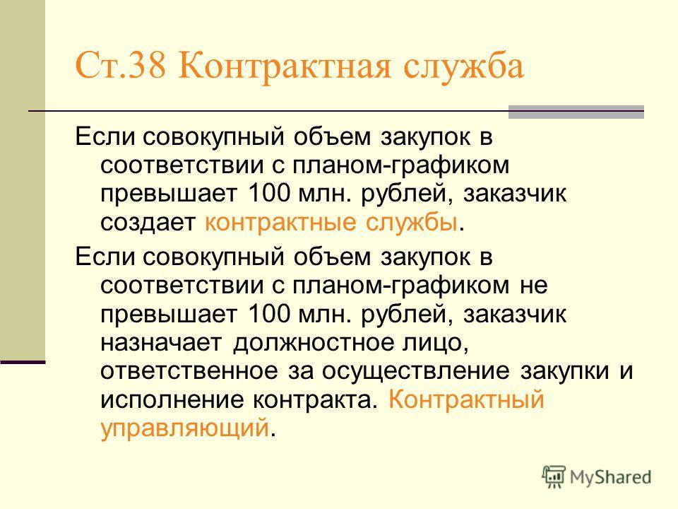 Ст.38 Контрактная служба Если совокупный объем закупок в соответствии с планом-графиком превышает 100 млн. рублей, заказчик создает контрактные службы. Если совокупный объем закупок в соответствии с планом-графиком не превышает 100 млн. рублей, заказ
