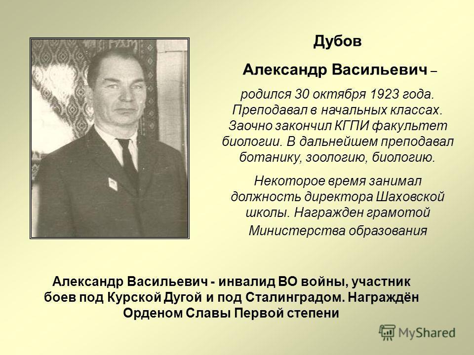 Дубов Александр Васильевич – родился 30 октября 1923 года. Преподавал в начальных классах. Заочно закончил КГПИ факультет биологии. В дальнейшем преподавал ботанику, зоологию, биологию. Некоторое время занимал должность директора Шаховской школы. Наг