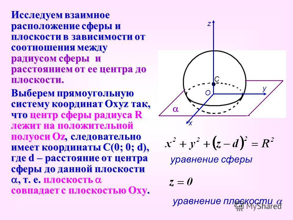Исследуем взаимное расположение сферы и плоскости в зависимости от соотношения между радиусом сферы и расстоянием от ее центра до плоскости. Выберем прямоугольную систему координат Охуz так, что центр сферы радиуса R лежит на положительной полуоси Оz