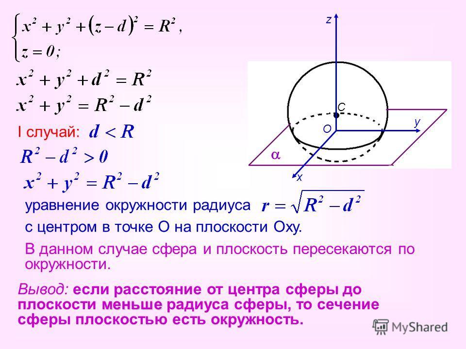 О х у z I случай: уравнение окружности радиуса с центром в точке О на плоскости Оху. В данном случае сфера и плоскость пересекаются по окружности. Вывод: если расстояние от центра сферы до плоскости м мм меньше радиуса сферы, то сечение сферы плоскос