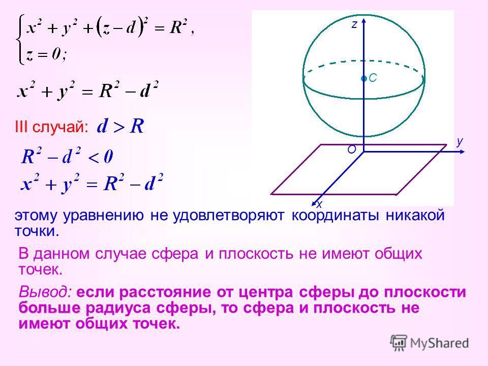 С III случай: этому уравнению не удовлетворяют координаты никакой точки. В данном случае сфера и плоскость не имеют общих точек. Вывод: если расстояние от центра сферы до плоскости больше радиуса сферы, то сфера и плоскость не имеют общих точек. О х
