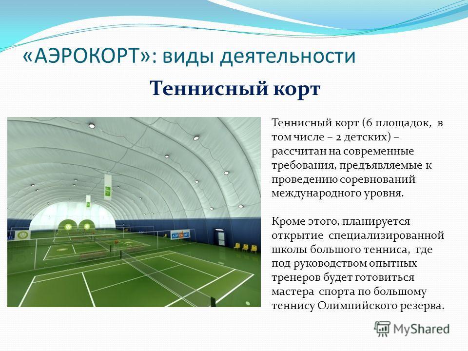 «АЭРОКОРТ»: виды деятельности Теннисный корт (6 площадок, в том числе – 2 детских) – рассчитан на современные требования, предъявляемые к проведению соревнований международного уровня. Кроме этого, планируется открытие специализированной школы большо