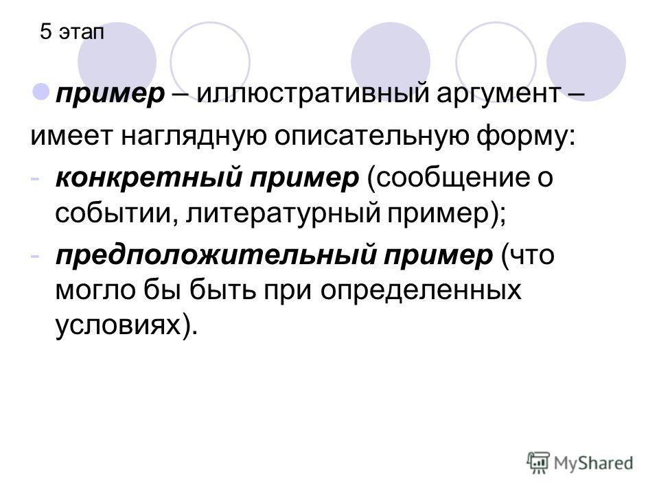 5 этап пример – иллюстративный аргумент – имеет наглядную описательную форму: -конкретный пример (сообщение о событии, литературный пример); -предположительный пример (что могло бы быть при определенных условиях).
