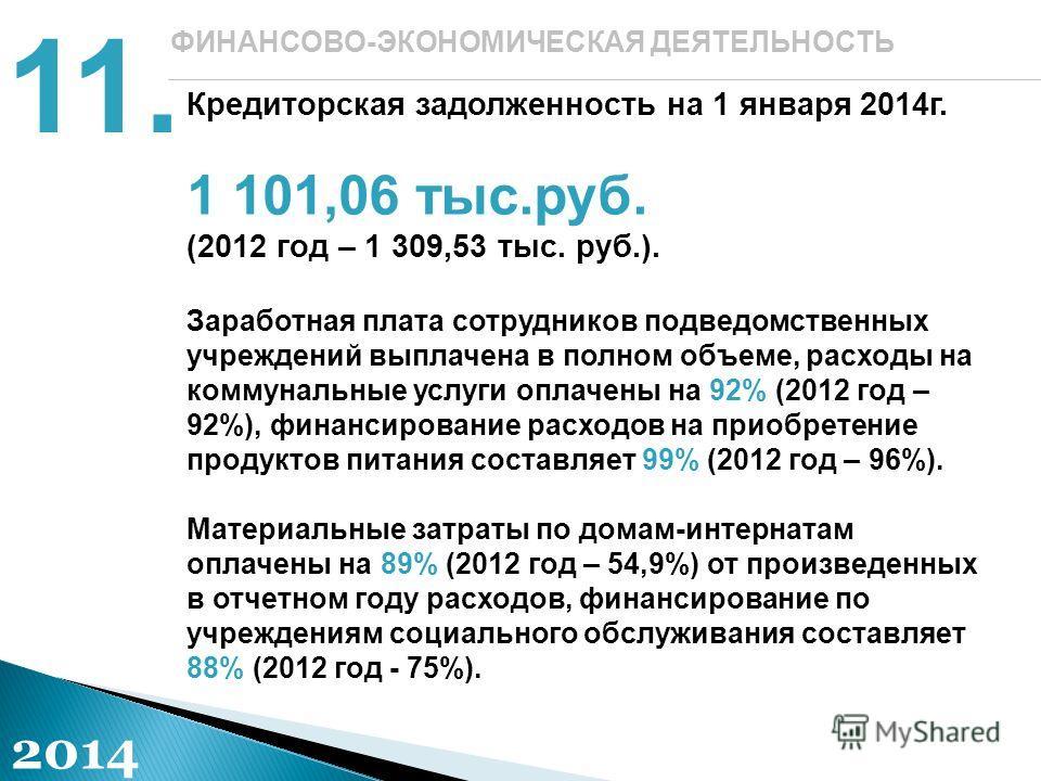 ФИНАНСОВО-ЭКОНОМИЧЕСКАЯ ДЕЯТЕЛЬНОСТЬ Кредиторская задолженность на 1 января 2014г. 1 101,06 тыс.руб. (2012 год – 1 309,53 тыс. руб.). Заработная плата сотрудников подведомственных учреждений выплачена в полном объеме, расходы на коммунальные услуги о