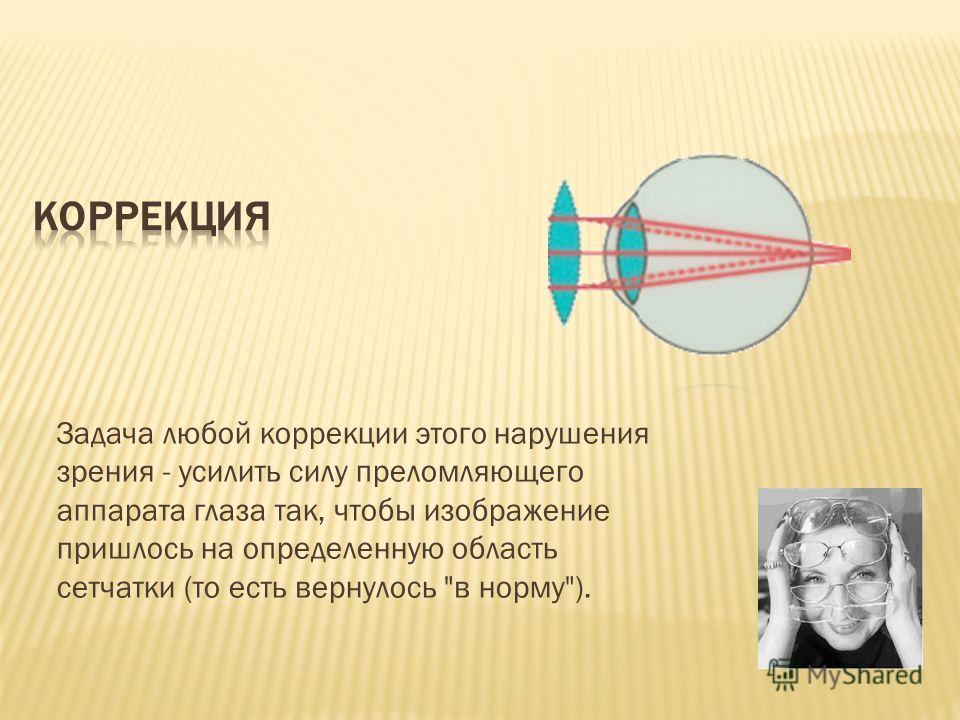 Задача любой коррекции этого нарушения зрения - усилить силу преломляющего аппарата глаза так, чтобы изображение пришлось на определенную область сетчатки (то есть вернулось в норму).