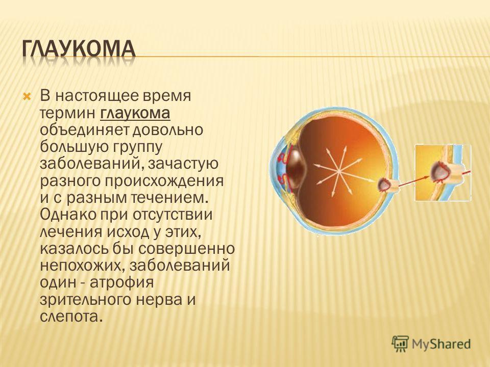 В настоящее время термин глаукома объединяет довольно большую группу заболеваний, зачастую разного происхождения и с разным течением. Однако при отсутствии лечения исход у этих, казалось бы совершенно непохожих, заболеваний один - атрофия зрительного