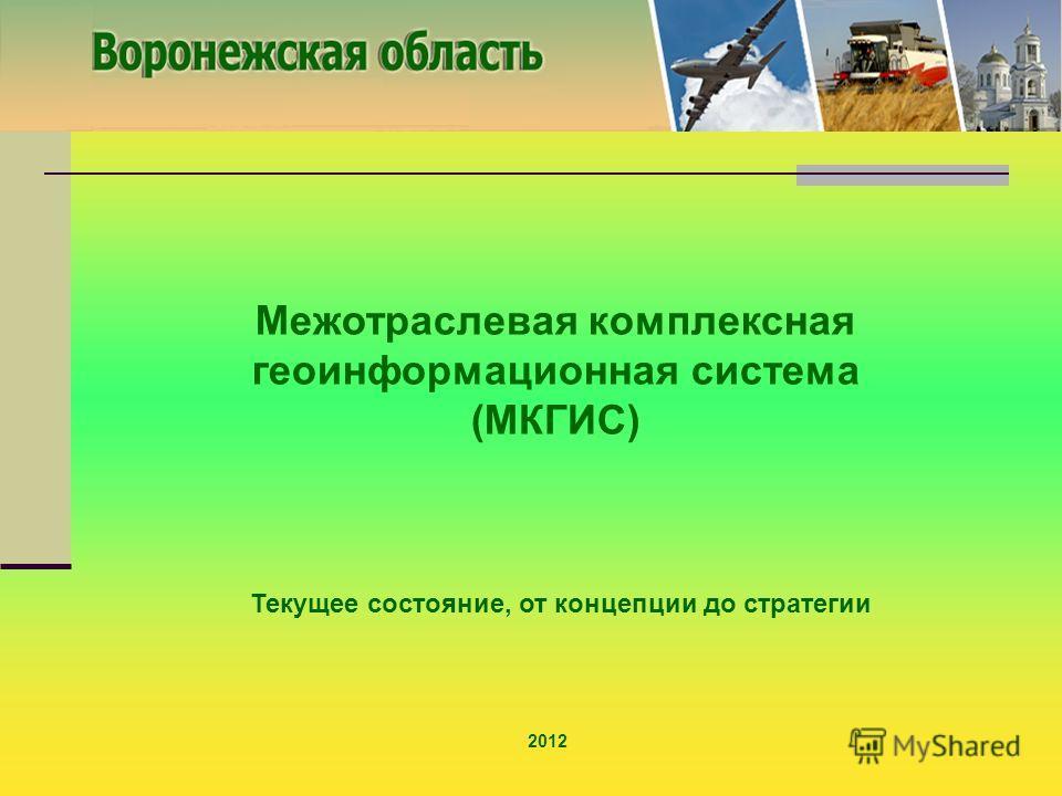 Межотраслевая комплексная геоинформационная система (МКГИС) 2012 Текущее состояние, от концепции до стратегии