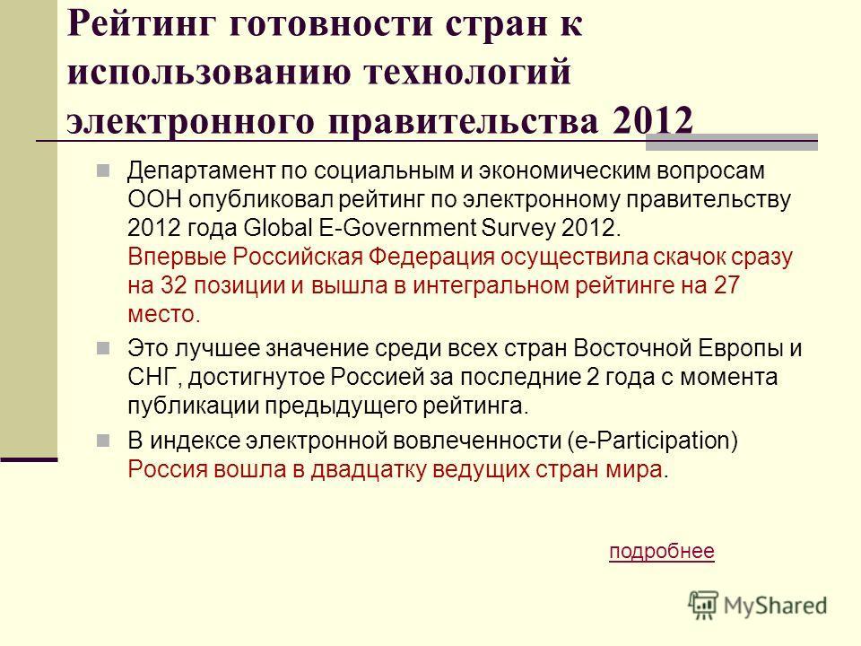 Рейтинг готовности стран к использованию технологий электронного правительства 2012 Департамент по социальным и экономическим вопросам ООН опубликовал рейтинг по электронному правительству 2012 года Global E-Government Survey 2012. Впервые Российская