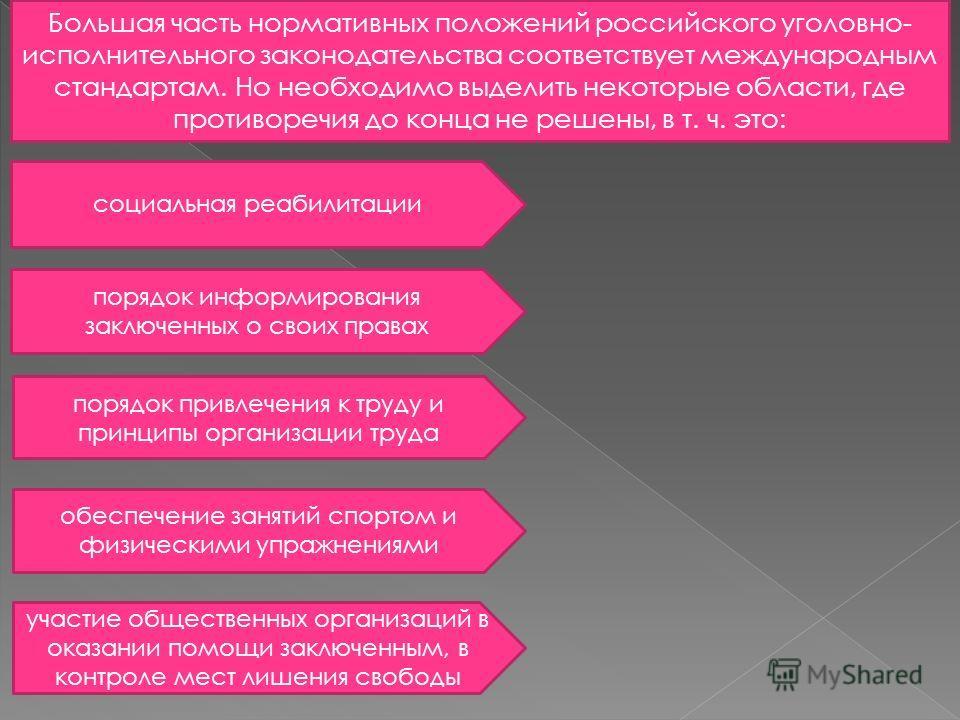 Большая часть нормативных положений российского уголовно- исполнительного законодательства соответствует международным стандартам. Но необходимо выделить некоторые области, где противоречия до конца не решены, в т. ч. это: социальная реабилитации пор